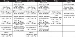 Taekwondo Calgary Schedule