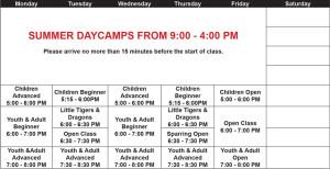 Calgary Taekwondo Summer Schedule