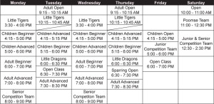 Calgary Taekwondo Schedule